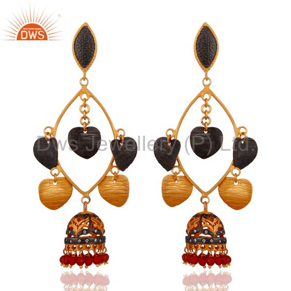 New Handmade 14k Yellow Gold-Plated Red Onyx Fashion Designer Earrings For Women