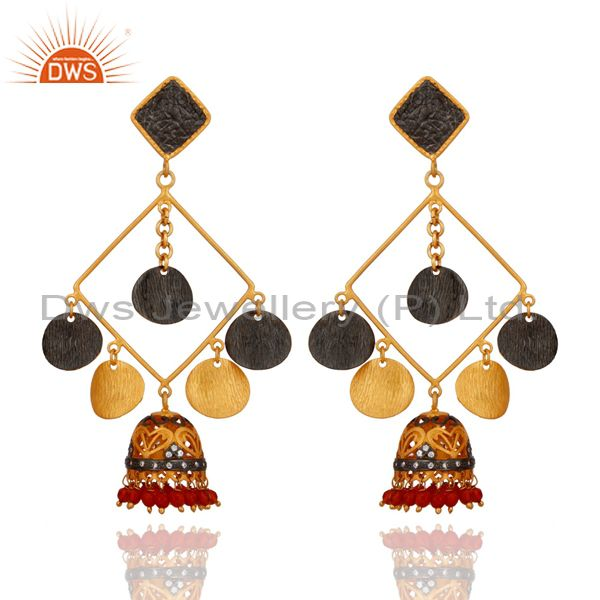 Exquisite 24K Gold Plated Red Onyx Gemstone Tribal Fashion Designer Earrings