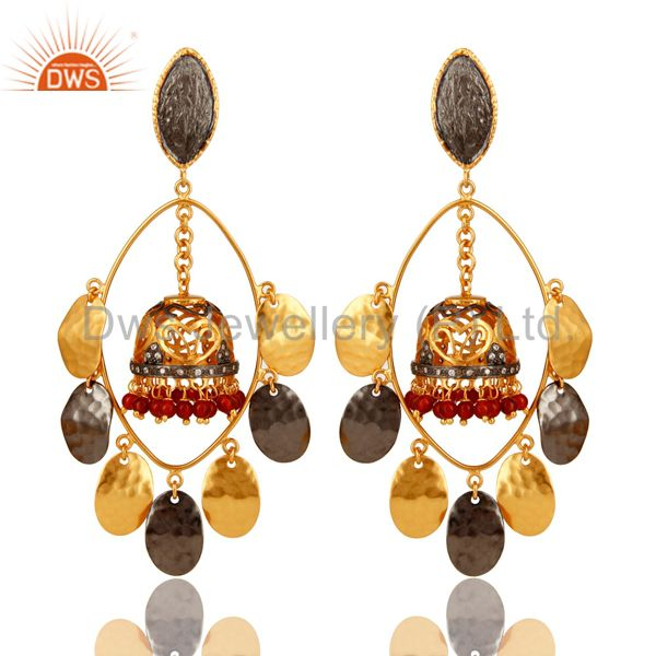 22K Yellow Gold Plated Red Onyx Textured Design Petals Jhumka Chandelier Earring