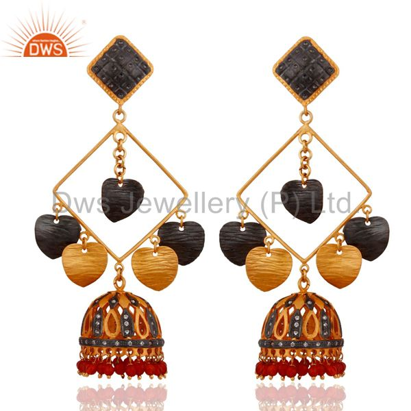 Designer Red Onyx 18K Yellow Gold Plated Costume Indian Earrings Fashion Jewelry