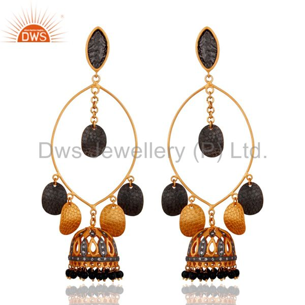 Indian Unique Designer 18-Karat Gold Plated Black Onyx Jewelry Handmade Earrings