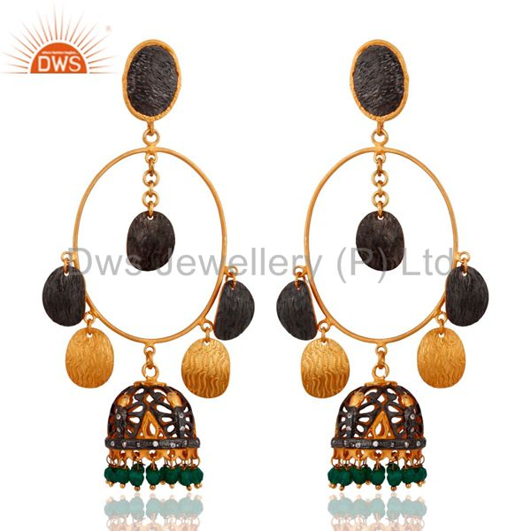 18kt. Gold Plated Over Brass Green Onyx Indian Artisan Crafted Gemstone Earrings