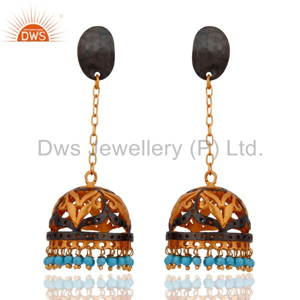 Handmade Turquoise Gemstone Dangle Earring With 24k Yellow Gold Plated Jewelry