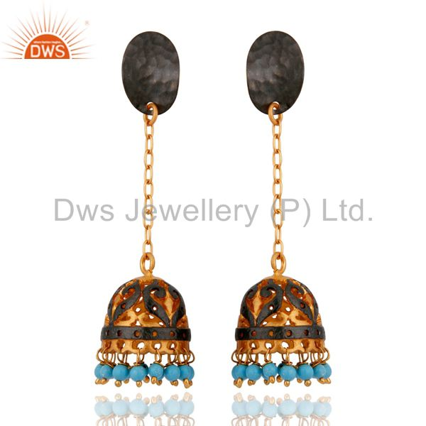 4d8de783a ... Turquoise Gemstone Dangle Earring Made In 18k Yellow Gold Over Brass  Jewelry Indian ...