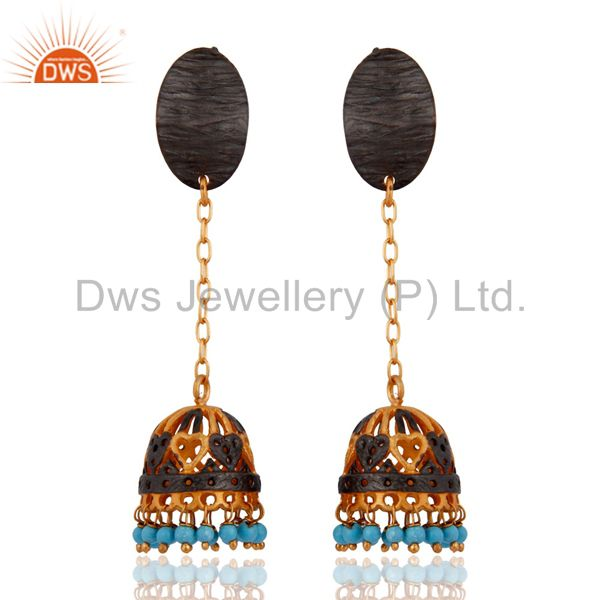 Beautiful Indian Yellow Gold Plated Oxidised Turquoise Unique Womens Earrings
