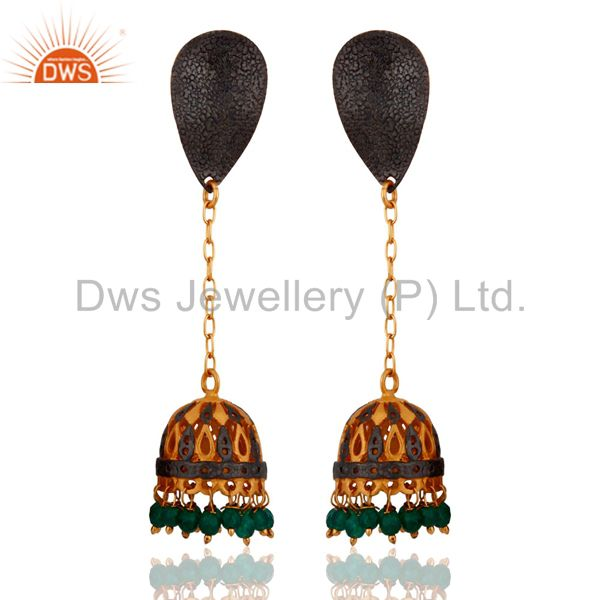 Emerald Green Onyx 22K Gold Plated Indian Ethnic Fashion Jhumki Jhumka Earrings