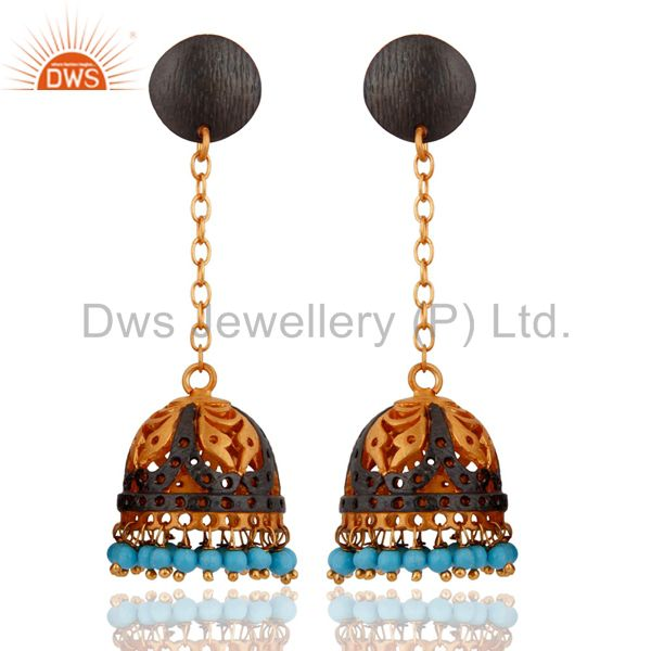 18k Yellow Gold Plated Turquoise Gemstone Indian Ethnic Designer Jewelry Earring