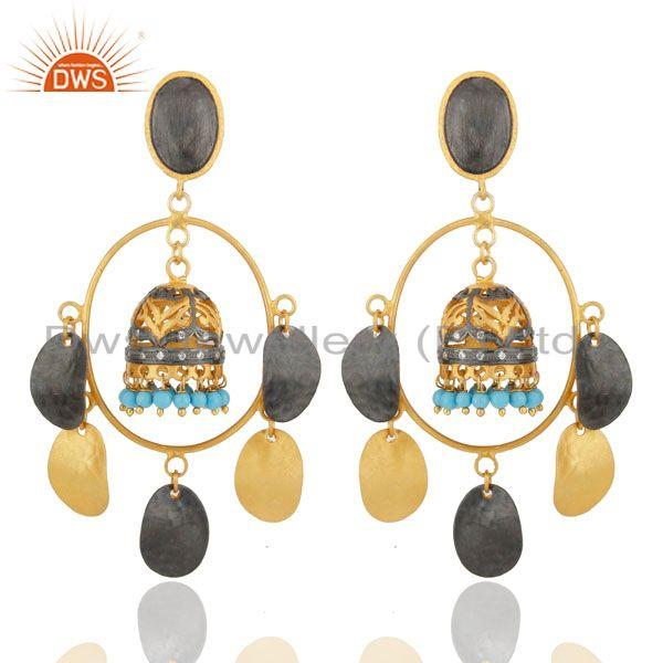 Gorgeous 22kt Gold Plated Turquoise Belly Dance Jhumka Chandelier Earring Jewelr