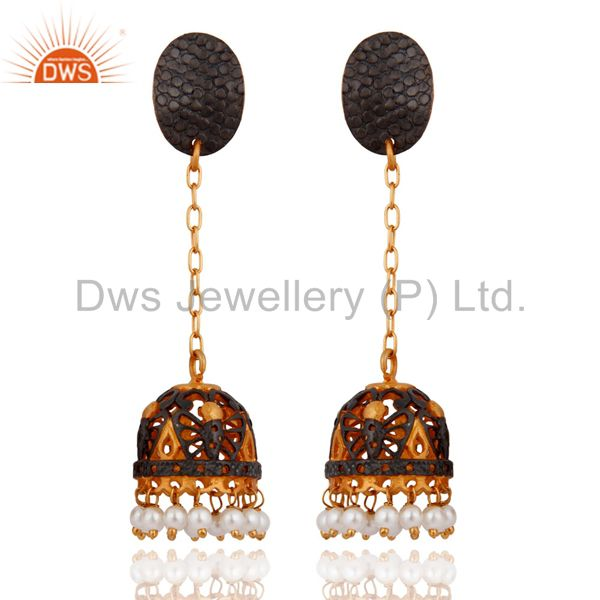 Indian Women Wear 24k Gold Plated White Pearl Beads Traditional Earring Jewelry