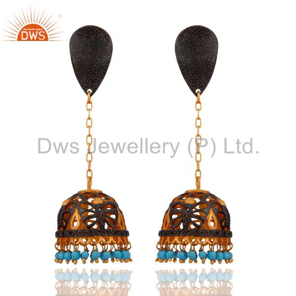 Natural Turquoise Gemstone Designer 18K Yellow Gold Plated Women Fashion Earring