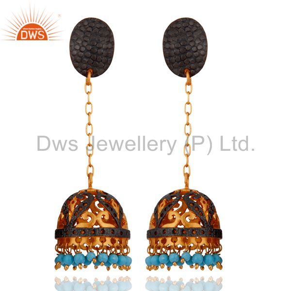 Excellent 24K Yellow Gold Plated Hanging Turquoise Gemstone Beads Earrings
