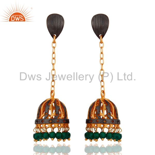 Natural Gemstone Green Onyx Beads 24k Yellow Gold Plated Chain Dangle Earrings