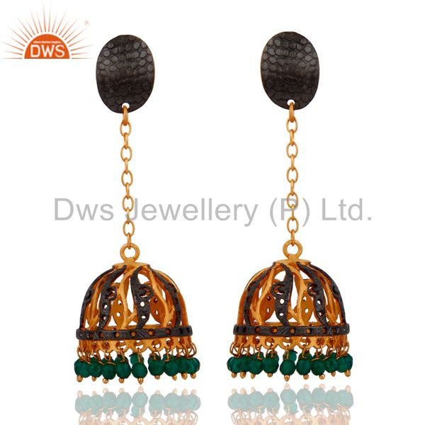 Indian 22k Yellow Gold Plated Green Onyx Gemstone Hanging Jhumki Earrings