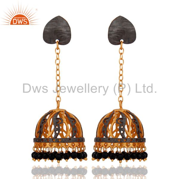 Natural Black Onyx Gemstone Designer Earring With 22K Yellow Gold Plated Jewelry