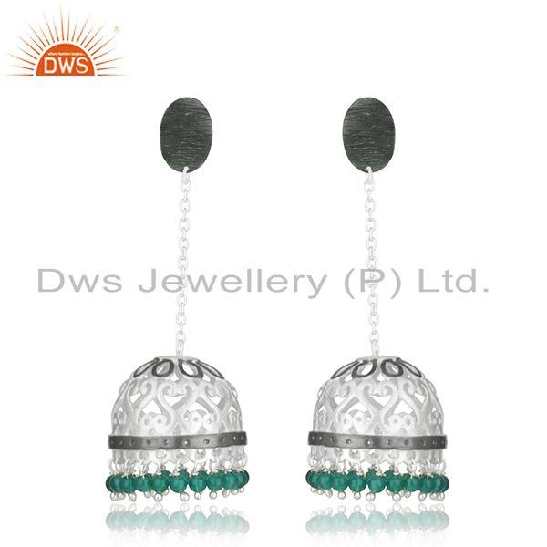 Handmade Designer Brass Fashion Green Onyx Jhumka Earrings Manufacturer Jaipur