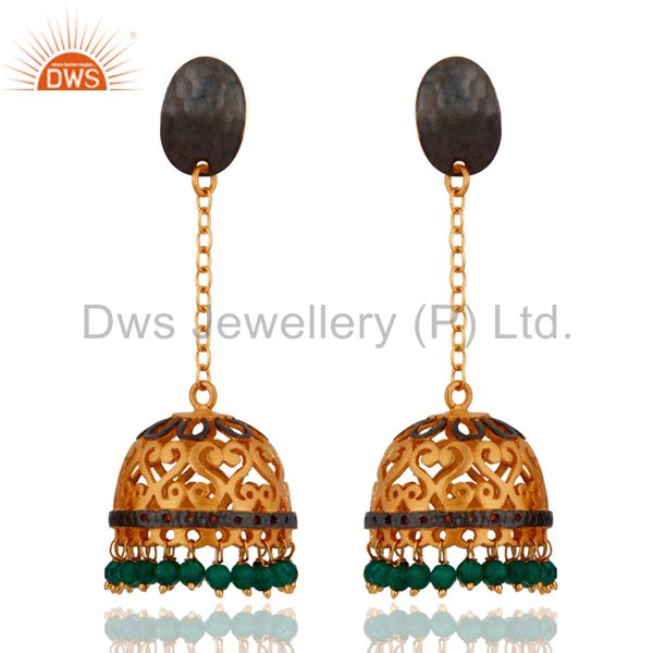 24k Yellow Gold Plated Natural Green Onyx Gemstone Handcrafted Designer Earrings