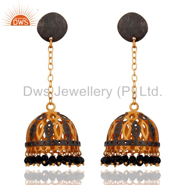 18k Yellow Gold Plated Natural Balck Onyx Gemstone Jhumka Dangle Earrings