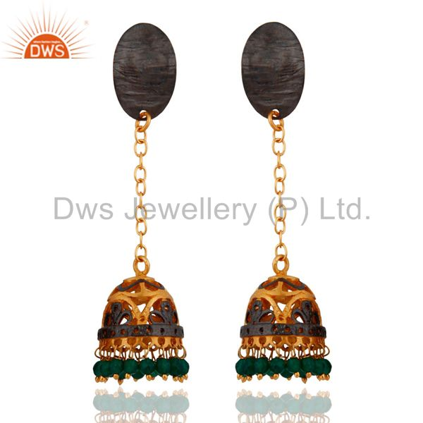 Gold Plated Green Onyx Gemstone Indo Western Designer Earrings