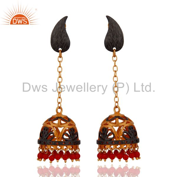 Gold Plated Red Coral Gemstone Beads Earrings