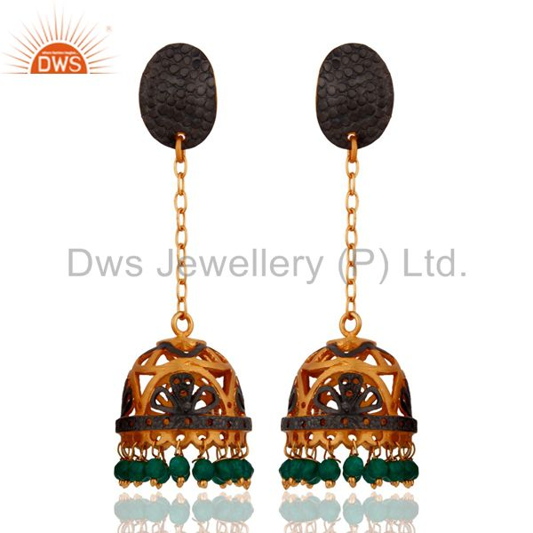 24K Yellow Gold Plated Jewelry Natural Green Onyx Beautiful Designer Earrings