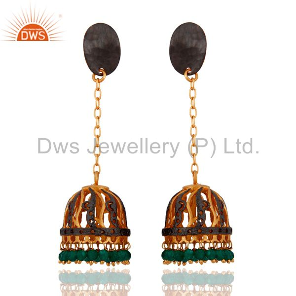 Indian Traditional 24k Gold Plated Green Onyx Gemstone Bridal Jewelry Earrings