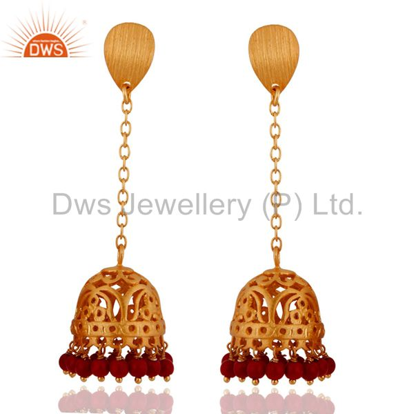 18k Gold Plated Sterling Silver Red Coral Beads Traditional Jhumka Style Earring