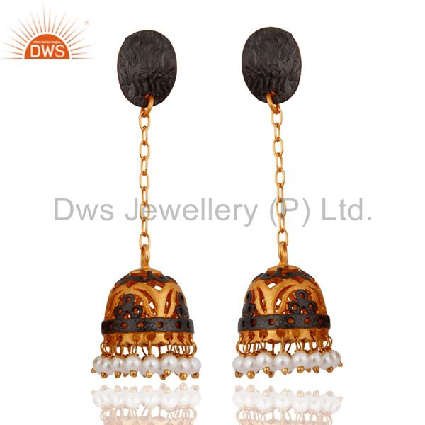 Natural Pearl 22K Gold Plated South Indian Designer Long Jhumka Bridal Earrings