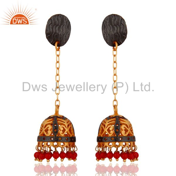 Indian Designer 18k Gold Plated Red Coral Office Wear Earrings Fashion Jewelry