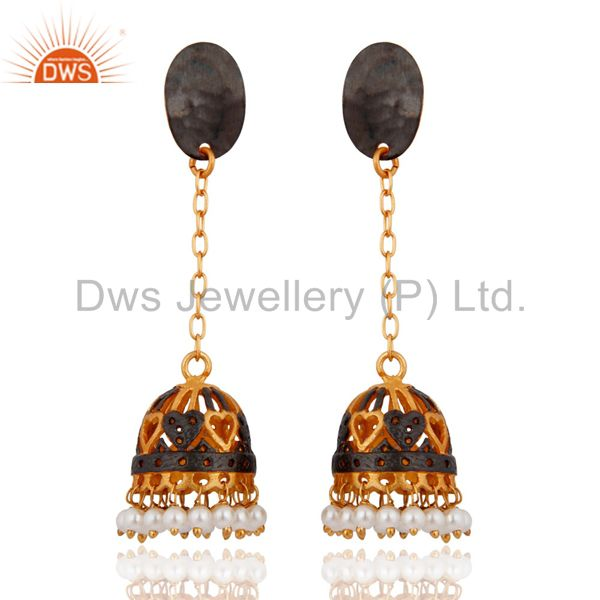 24k Gold Plated Beautiful Pearl Earring Indian Designer Bollywood Style Jewelry