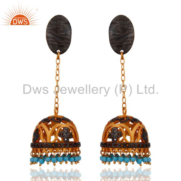 Indian 24K Gold Plated Fashion Jewelry Designer Turquoise Gemstone Earring