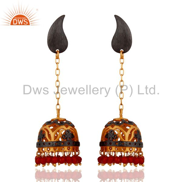 18k Yellow Gold Plated Red Onyx Semi-Precious Stone Indian Ethnic Dangle Earring