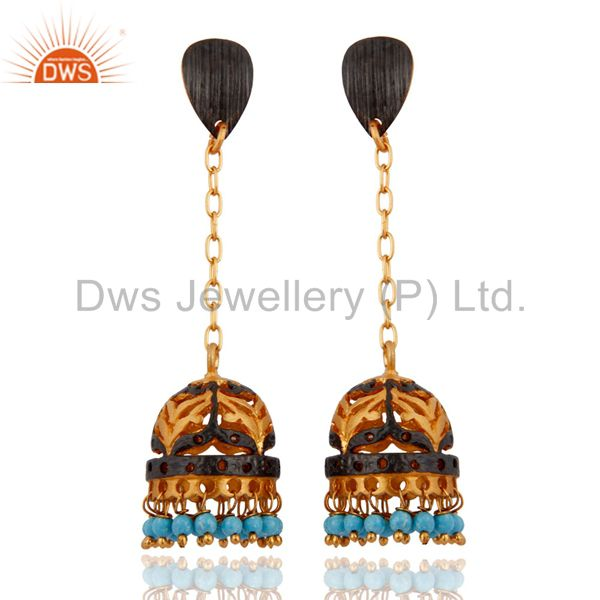 Quality Gemstone Turquoise 24k Gold Plated Bridal Wedding Long Jhumka Earrings