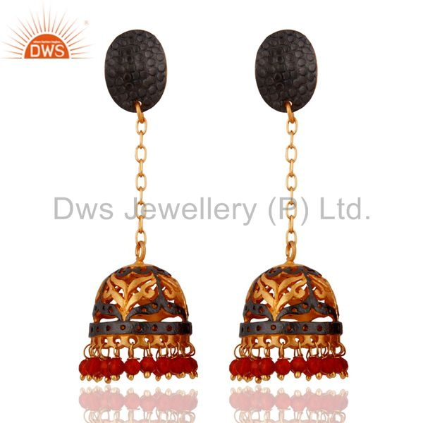 18Kt. Yellow Gold Plated Red Onyx Wedding Party Jewelry Unique Designer Earrings