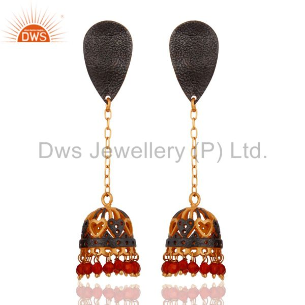 18K Gold Plated Red Onyx Stone Traditional South Indian Wedding Jhumka Earrings