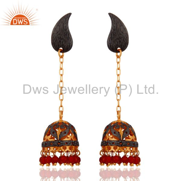 Red Onyx Gemstone Traditional Jhumka Earrings 24K Yellow Gold-Plated Jewellery