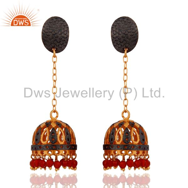 Natural Red Onyx Gemstone 22K Gold Plated Traditional Indian Designer Earrings