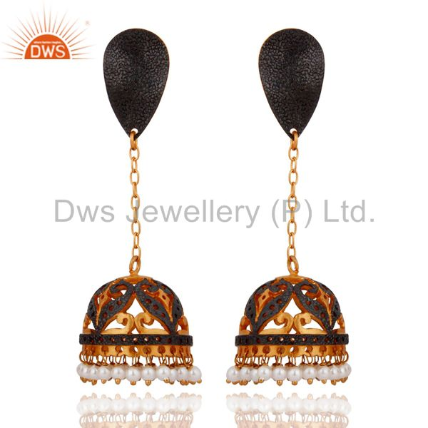 24K Yellow Gold-Plated Over Brass White Pearl Indian Traditional Jhumki Earrings