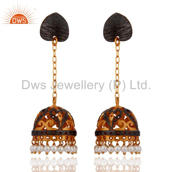 Natural Pearl Traditional Jhumka Earrings 18-Karat Yellow Gold-Plated Over Brass