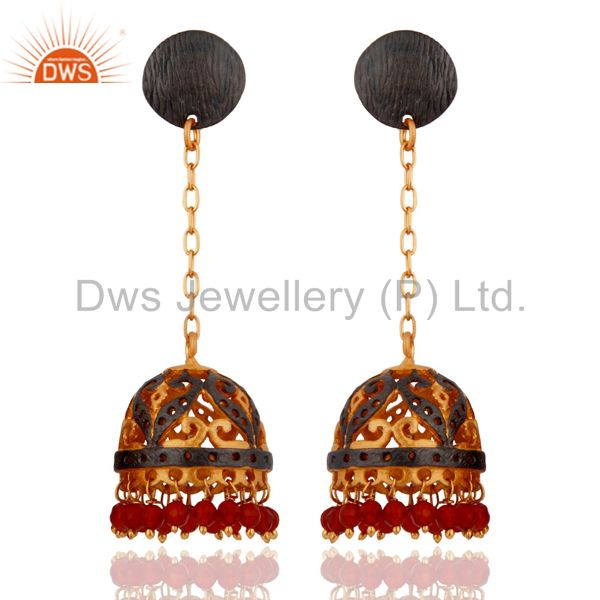 Natural Red Onyx Indian Designer Dangle Earrings With 24k Gold-Plated Jewellery