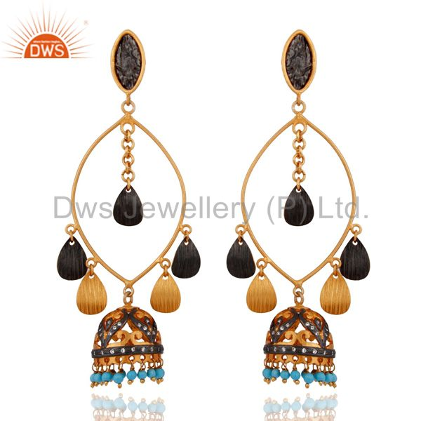 Designer Inspired Hammered Turquoise 18k Gold Plated Ethnic Indian Earrings