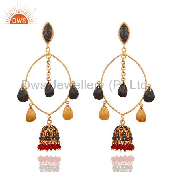 Handmade 18K Gold Plated Red Onyx Gemstone Indian Designer Women Jhumka Earrings