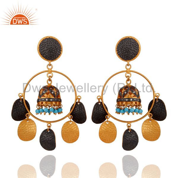 Handmade Turquoise Gemstone Ladies Chandelier Earring 18-Kt. Gold-Plated Jewelry