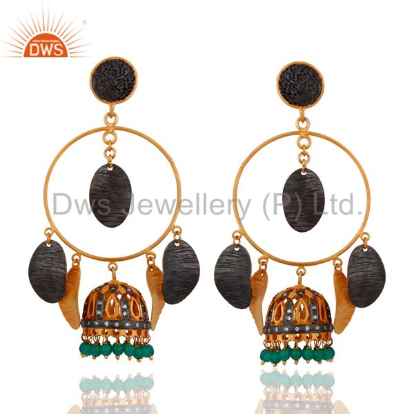 Green Onyx Gemstone Chandelier Indian Fashion Earrings 24-K Gold Plated Jewelry