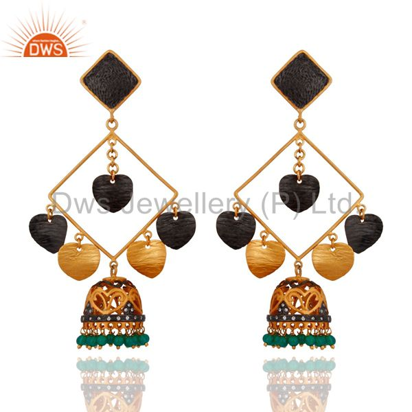 18k Yellow Gold Plated Handmade Gemstone Green Onyx Designer Chanaelier Earring