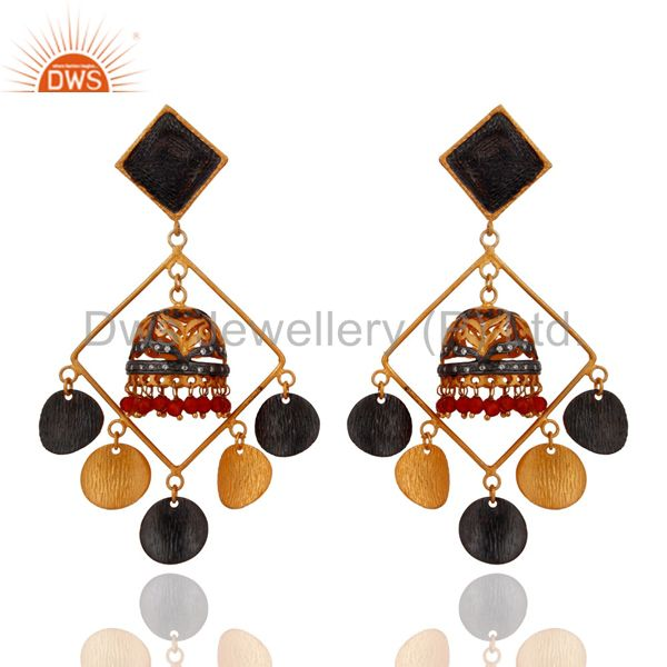 Handmade Natural Red Onyx Designer Earrings in 22K Yellow Gold Plated Jewelry