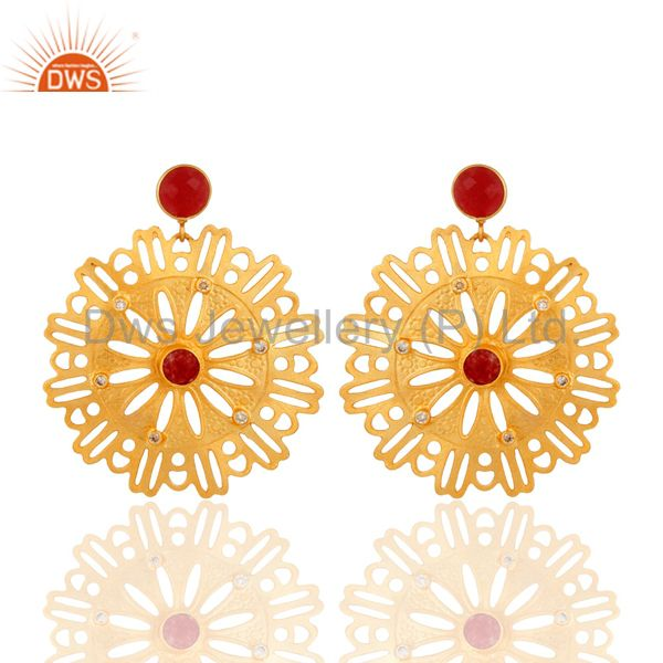 22K Yellow Gold Plated Over Brass Red Aventurine And White Zirconia Earrings