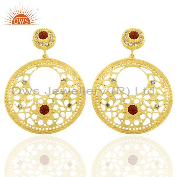 24K Yellow Gold Plated Brass Red Coral And CZ Filigree Disc Design Drop Earrings