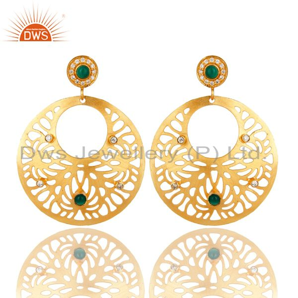 14K Yellow Gold Plated Green Onyx And CZ Floral Filigree Design Earrings