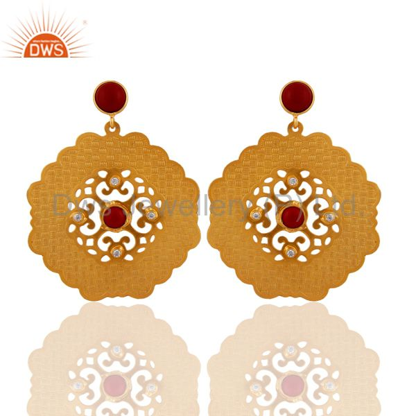 18k Yellow Gold-Plated Natural Red Coral Gemstone Designer Dangle Earrings
