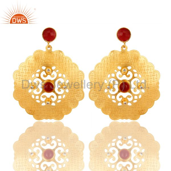 18K Gold Plated Red Aventurine And Cubic Zirconia Handmade Dangle Earrings